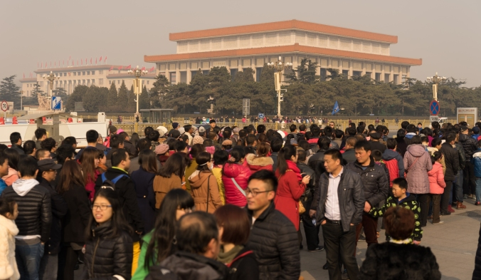 The line of people waiting to get into Tiananmen Square.