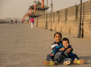 On the Xi'an City Wall. I'm pretty sure we had to bribe Bini with Pokemon cards to get this picture.